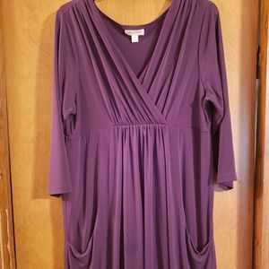 15W En Focus purple long sleeve bubble bottom dres